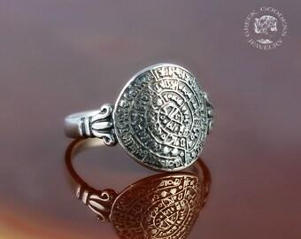 Anello d'argento del disco di Festo, anello antico, anello del disco di Festo, Festo anello, anello greco, gioielli antichi, gioielli greci, miglior regalo per la moglie