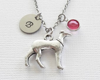 Dog Necklace Greyhound Dog Puppy Pup Animal Canine Birthday Jewelry Swarovski Birthstone Silver Initial Personalized Monogram Hand Stamped