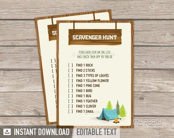 Camping Party - Scavenger Hunt Game - Boy Campout Sleepover - Glamping - INSTANT DOWNLOAD - Printable PDF with Editable Text