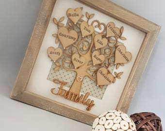 Large Family Tree Frame, Personalised Family Tree, Grandchildren Tree, Wooden Family Tree, Family Tree, Family Gift