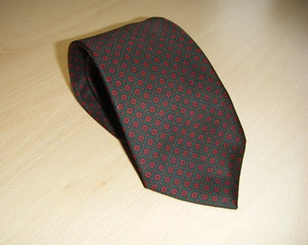 Vintage Austin Reed Silk Tie, Abstract Foulard Design, Forest Green and Scarlet