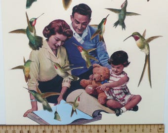 Hummingbird Collage Art Print Atomic Family Surreal Collage Wallpaper Book Free As A Bird Sky Blue Giclée Vintage Style Art