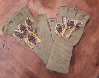 Sage green fingerless gloves with hand beaded applicays