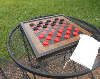 Handmade Wooden Checkerboard-Black and Red Wood Checkerboard-Checkerboard Game-Checkerboard Wall Art-Checkered Game Board
