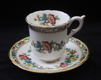 Beautiful Coalport Ming Rose Demitasse Cup and Saucer Coffee Duo | Pristine | Four Available