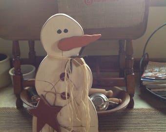 "Primitive Handmade Snowman 24"" tall"