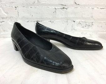 vintage 80s black leather faux croc low chunky heel / embossed crocodile block heel slip on loafer / womens preppy shoes