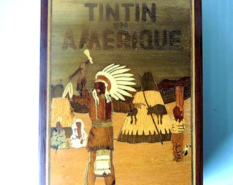 Tintin in America inlaid wooden box  8.3 x 5.5 x 2.8 inch