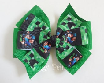 Builder Bow - Video Game Pinwheel Hair Bow - No Slip Velvet Grip Hair Clip