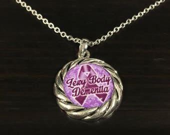 Lewy Body Dementia Awareness Ribbon Necklace