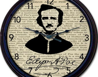 """Edgar Allan Poe, Poe, Steampunk, Wall Clock, Raven, Poet, Goth, Gothic, Victorian, Poetry, Vintage, Black Crow, Book Page, Horror, New 10"""""""