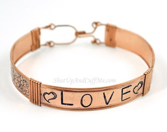"Copper ""Love"" Stamped Bangle Bracelet - CLEARANCE"