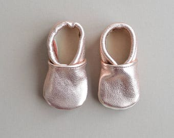 Size 3 -Noel: Rose Gold Leather Baby Shoes - Baby Girl Holiday Shoes