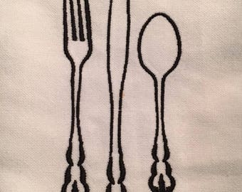 White & Black Kitchen Towel with Fork, Knife and Spoon