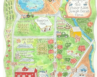 Wedding Map -Watercolor Map of a Farm Reception