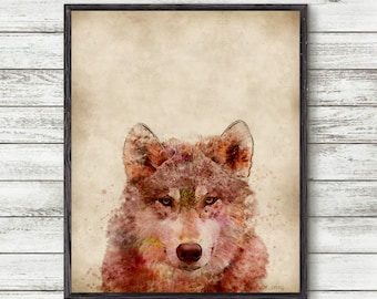 Wolf Print, Wolf Watercolor, wolf Poster, wolf Painting, wolf Wall Art, Watercolor Prints, wolf Decor, Woodland Animals, Wolf Poster,