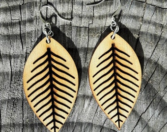Rustic Elm Leaf Laser Cut Earrings