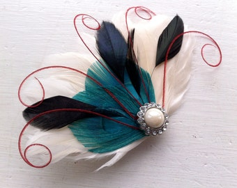 BREE Aqua, Black, Ivory, and Red Feather Fascinator with Crystal and Pearl, Feather Hair Clip, Bridal Hair Piece