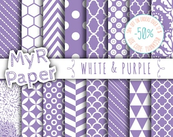 "SALE 50% Purple Digital Paper: ""White & Purple"" Digital Paper Pack and Backgrounds with Chevron, Damask, Triangles, Stripes and Polka Dots"