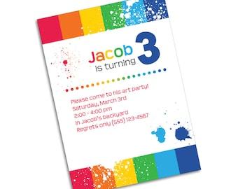 Bold Rainbow Stripes and Splatters Invitation