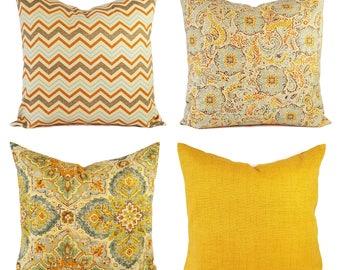One Gold Pillow Cover - Brown Yellow Pillow Sham - Brown Throw Pillow - Decorative Pillow Covers - Damask Pillows - Chevron Pillow Shams