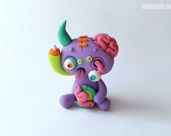Random ZOMBIE LittleLazies | 1 Miniature Monster Polymer Clay Sculpture | Handmade | Thank You!