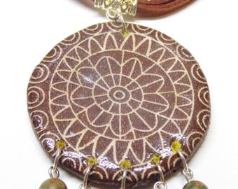 Unique Hand-Made Dream Catcher Pendant Necklace from Polymer Clay for Women