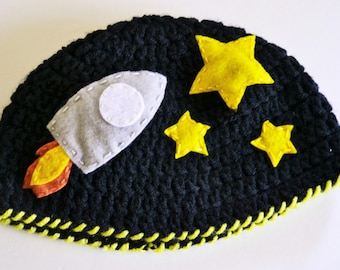 Outer Space, Crochet Space Beanie, Outer Space Hat, Kids and Baby, Rocket Ship Hat, Rocket Ship, Space Ship Hat, Baby Hat, Beanie, Hat