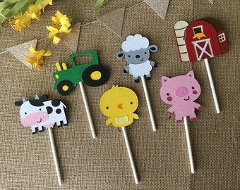 Farm Themed Cupcake Toppers / Barnyard Themed Cupcake Toppers / Barnyard Decorations / Farm Decorations