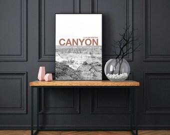 Printable desert art, poster canyon, Arizona decor, rock, black and white, Brown, modern, minimal letter, digital file