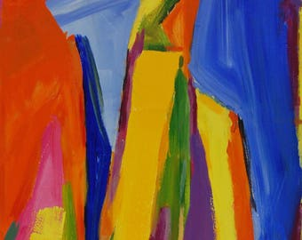 """Large Abstract Art Acrylic Expressionist Colour Painting """"Curtain"""" ,Contemporary, Home decor, Original Artwork, Rainbow, Colourful, Office"""