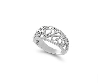 sterling silver heart design ring. fancy ring.
