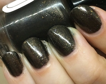Furiosa Nail Polish - blackish brown with smokey metallic flakes