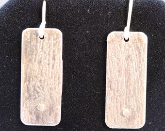 Hand Etched Sterling Silver Earrings (060818-025)