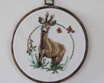 Young Stag Cross Stitch in hoop frame