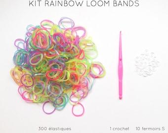 Kit 300 neon elastic + 10 clasps S + 1 crochet rainbow loom bands