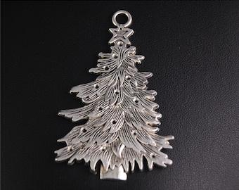 5pcs Antique Silver Big Christmas Tree Charms Pendant A2075