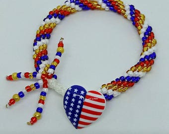 American Patriotic Bracelet with Beads