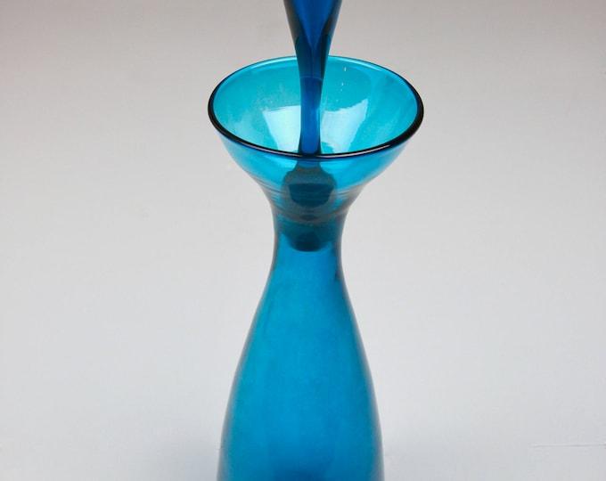 BLUE BLENKO GLASS Decanter Mid Century Modern