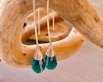 Sapphire crystal drop earrings-sterling silver hoop earrings-crystal earrings-sahphire-drop earrings-jewelry -sterling silver jewelry