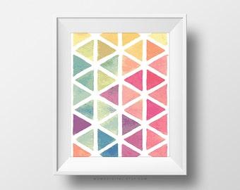 SALE -  Geometric Triangles, Shape Print, Triangle Print, Geometric Print, Digital Print, Colorful Print, Rainbow Print, Watercolor Print