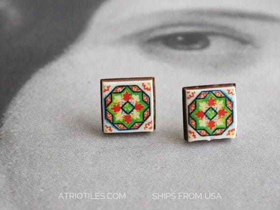 Stud Earrings Portugal Tile Green Stainless Steel Posts Antique Azulejo Ovar (see photo of Facade) Ships from USA - Gift Box Included 623