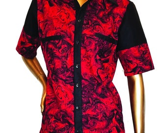 FTM/NB black and red marble shirt