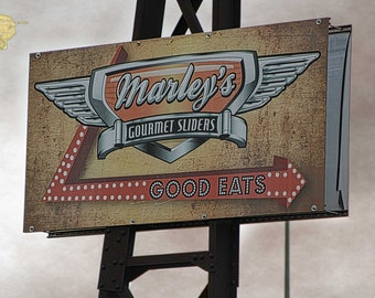 Marley's Gourmet Sliders Sign Post Processed Photograph Photography by Colleen Cornelius Bring the Outdoors In Zen Home Decor