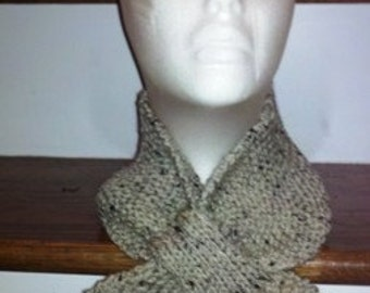 Knitted Lotus Leaf Scarf Stays Put - Amazing Look to keep you Warm in terrific colors - Oatmeal