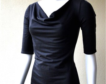 Slouchy neckline dress,  dress, handmade organic clothing, made in Canada clothes for women