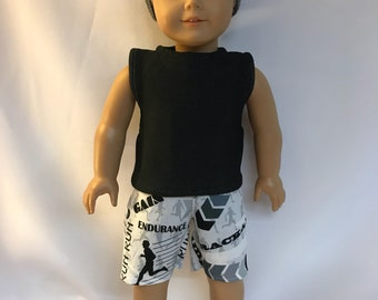 Black and White Athletic Running Outfit for 18 inch boy dolls 18 inch boy doll clothes.