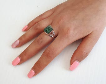 Raw emerald ring, rough, size 7, 92.5 sterling silver, view link to purchase resizing below in item details