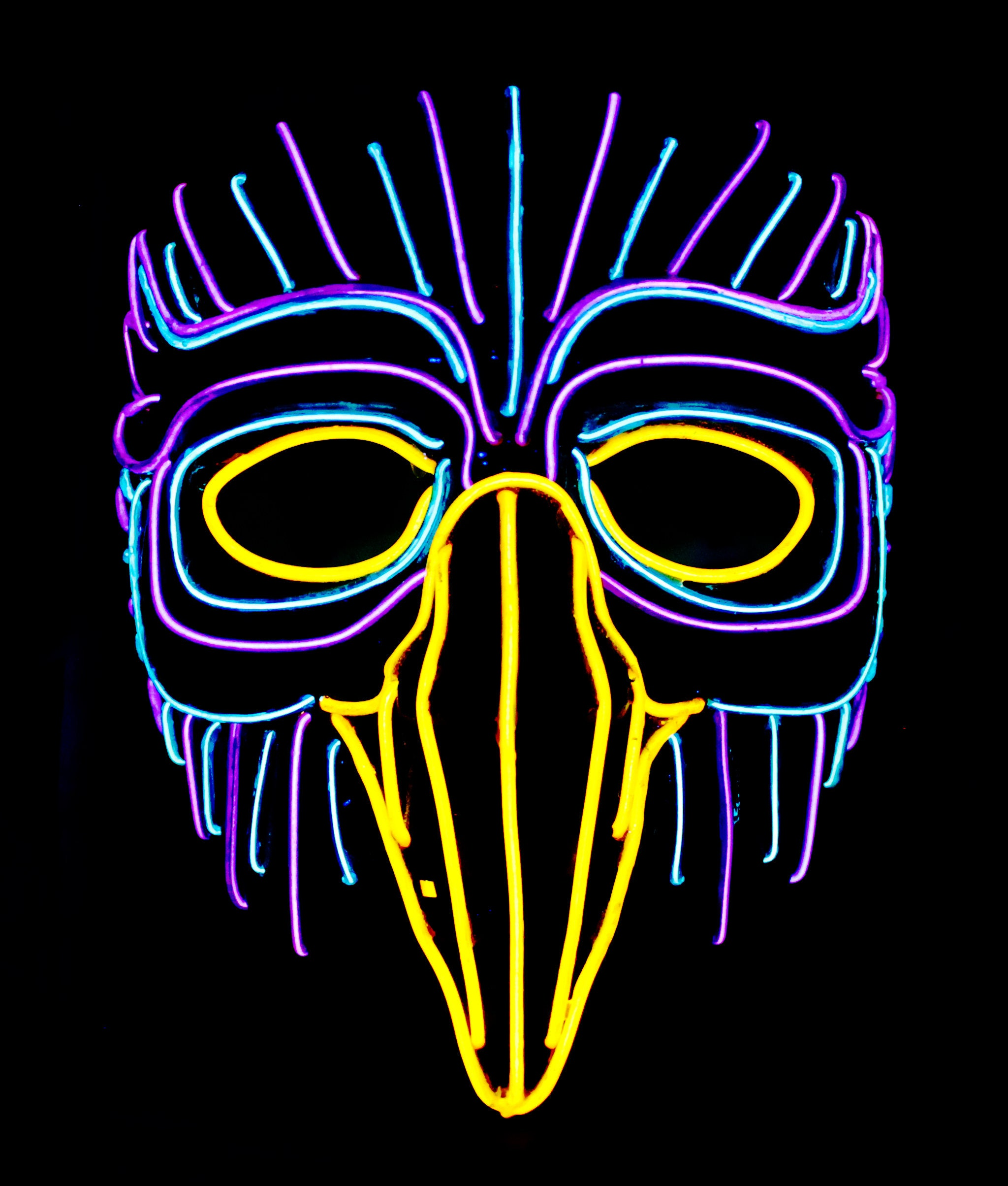 Forest Owl Light Up Mask - 20 Ft of EL Wire