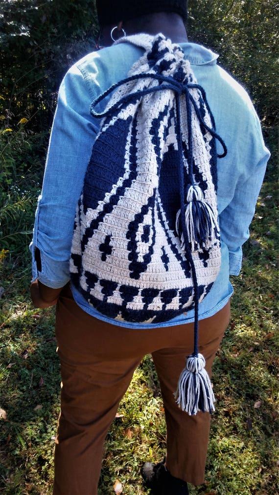 Mochilla Drawstring Tapestry Crochet Bag (CHOOSE YOUR COLORS)